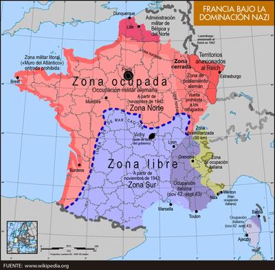 Resultado de imagen de francia de vichy mapa